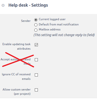 automatic emails setting