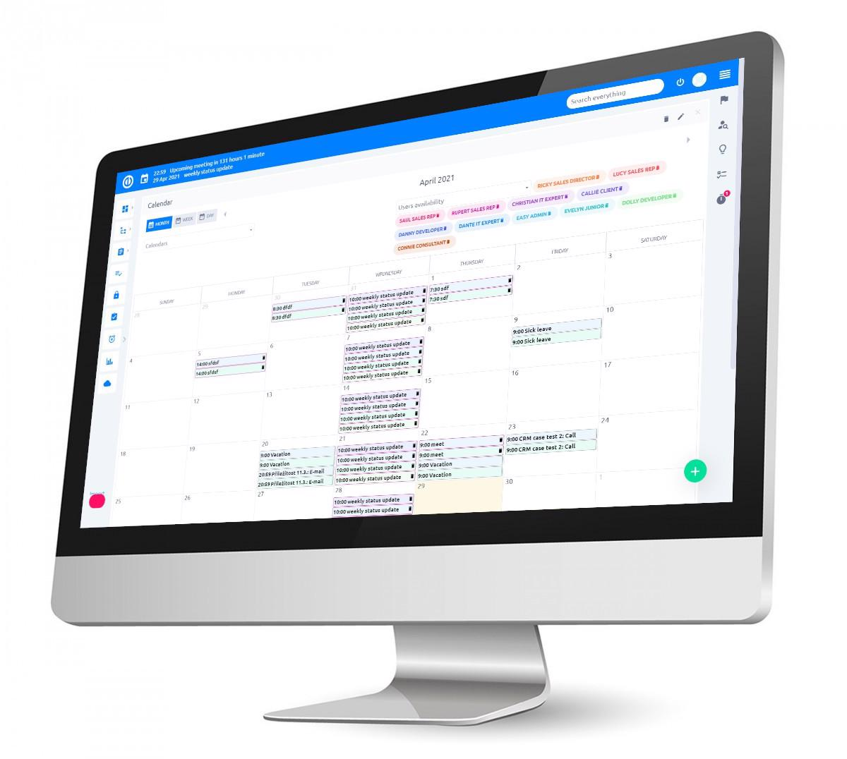 Easy Redmine 2018 - Meeting calendar - monthly view