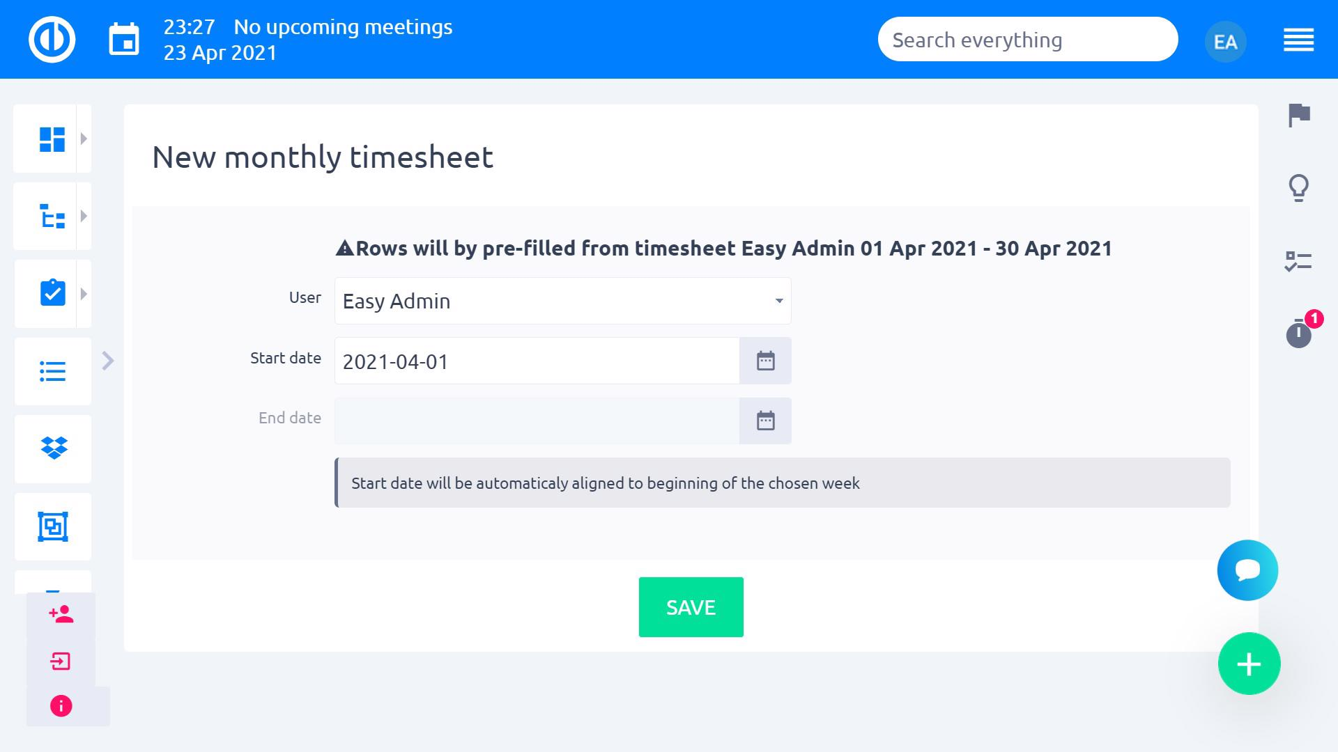 Easy Redmine 2018 - Time sheets - edit sheet