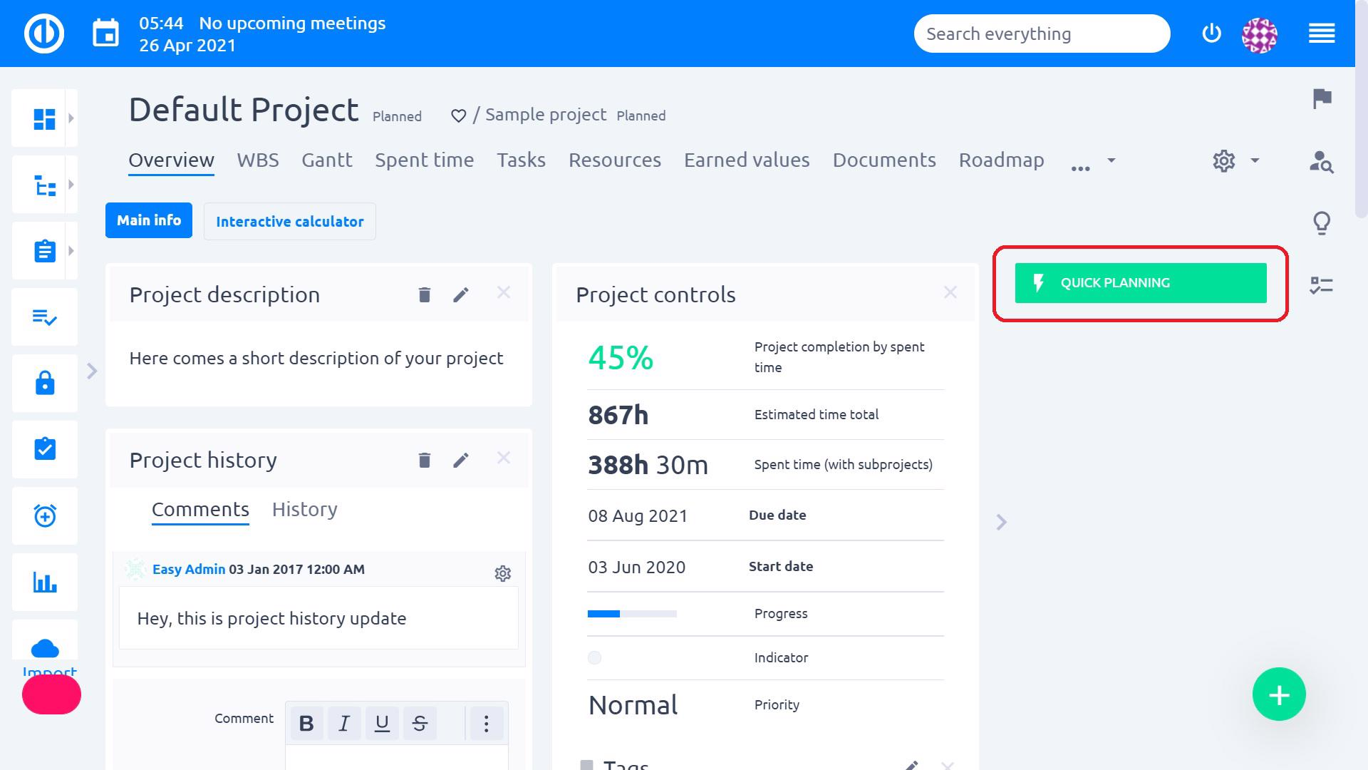 Easy Redmine 2018 - Quick project planner - Quick planning button